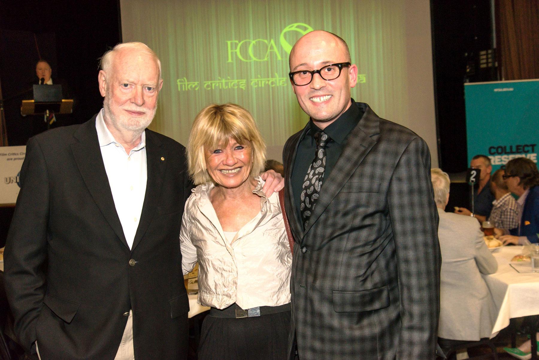Well-known FCCA members David Stratton & Margaret Pomeranz with the FCCA Patron, Oscar-winning animator Adam Elliot.